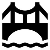 Suspension Bridge Over Water Icon