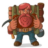Gnome tourist with a backpack and ammunition. - 242012692