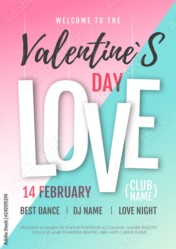 Happy Valentine`s Day disco party poster. Valentine background