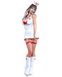 Long-haired nurse woman in short latex white dress and long boots. Beautiful sexy doctor girl standing sexually explicit pose. Realistic 3D rendering isolate illustration. Medical service. Red Cross