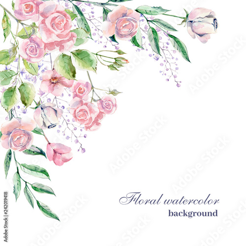 Watercolor background for wedding or romantic design. Floral com