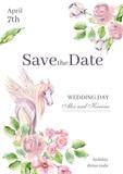 Watercolor invitation card template for wedding or romantic desi - 242019605