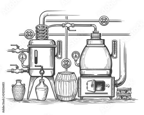 Distillery sketch. Retro stillness gin or whiskey alcohol distillation making equipment, whisky moonshine engraving alembic, vector illustraion