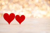 Red heart bokeh background, valentine day greeting card. - 242027867