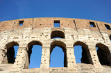 A section of the facade of the Colosseum (Flavian Amphitheatre) in Rome, Lazio, Italy