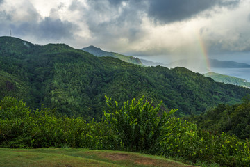 rainbow and rain over the jungle and mountains of mahé, seychelles 5