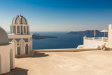 typical Santorini church in Greece in the Cyclades - 242040867