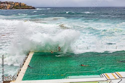 Bondi beach swimming pool in Sydney, Australia travel. Ocean waves crashing on famous popular tourist attraction on the coast.