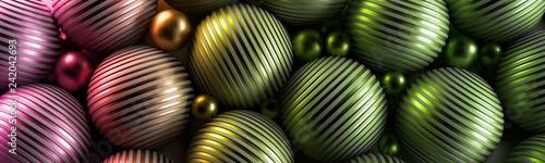 Ozdobne zielone kule 3D na ciemnym tle - 242042693