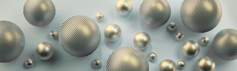 Srebrne kule 3D na jasnym tle