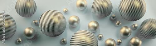 Srebrne kule 3D na jasnym tle - 242042809