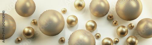 Złote kule 3D na jasnym tle - 242042840