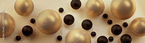 Złote i czarne kule 3D na jasnym tle - 242042851