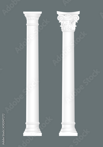 White classic columns set isolated, architectural elements set