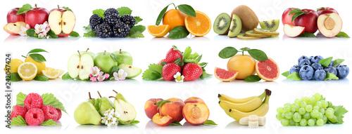 Früchte Frucht Obst Collage Apfel Orange Banane Orangen Erdbeere Äpfel Beeren Kirschen biologisch Freisteller freigestellt isoliert - 242047424