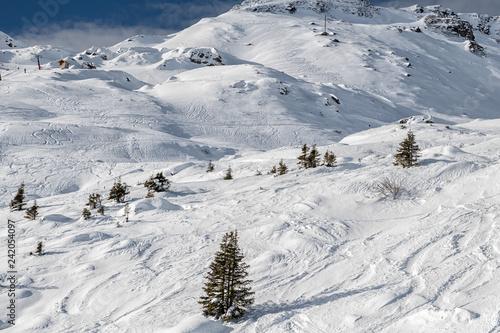Winter mountain ski resort landscape