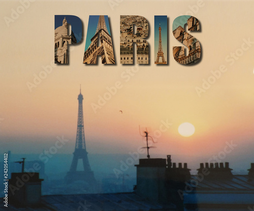Eiffel Tower and Paris collage sunset