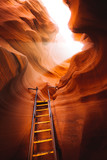 Light beam with ladder in Antelope Canyon, Arizona, USA