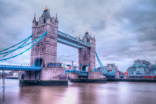 Wall mural Tower Bridge over Thames River in London.