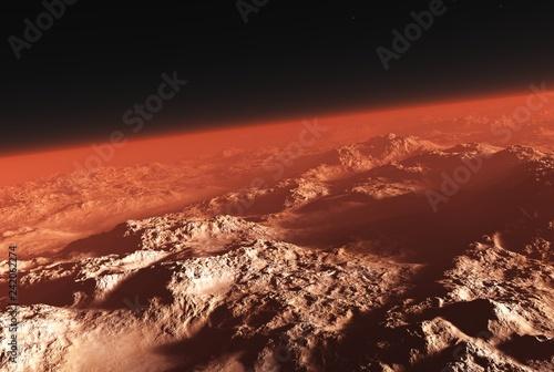 Mars from orbit 3d rendering