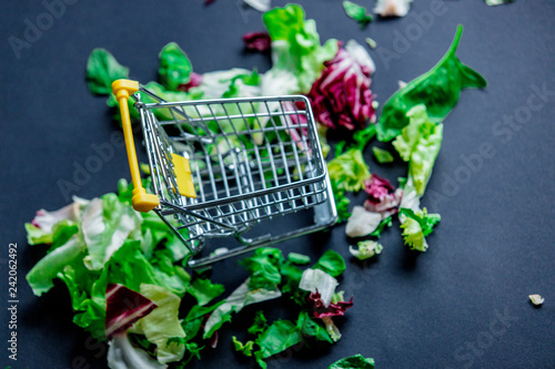 little supermarket cart and cabbage - 242062492