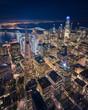 Leinwanddruck Bild - Aerial View of San Francisco Skyline at Night