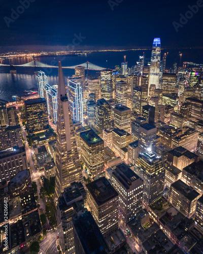 Leinwanddruck Bild Aerial View of San Francisco Skyline at Night