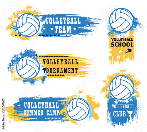Volleyball sport game ball, trophy cup and whistle
