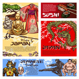 Japanese sushi, dragon, Buddha, samurai sketches - 242070079