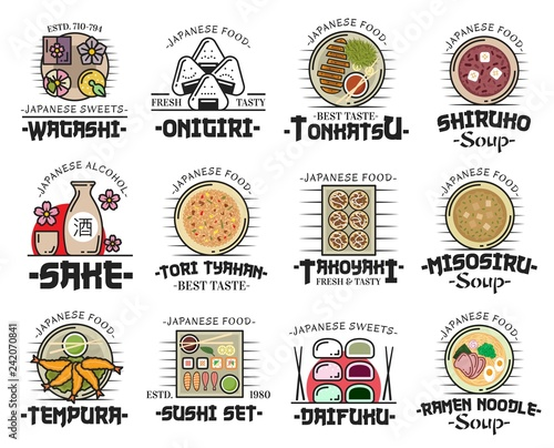 Japanese cuisine dishes icons of asian food