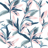 Tropical leaves on pastel mood Seamless graphic design with amazing palms. Fashion, interior, wrapping, packaging suitable. Realistic palm leaves.vector
