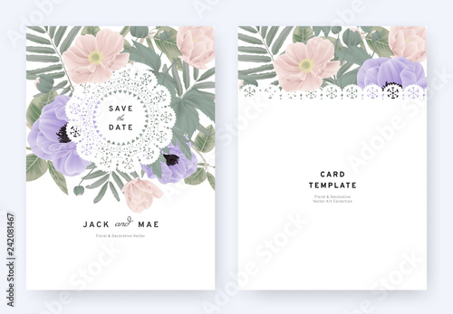 Floral wedding invitation card template design, pink and purple anemone flowers and leaves with lace frame on white background, pastel vintage theme