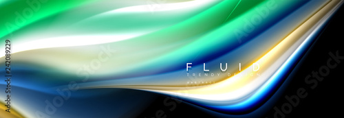 Bright colorful liquid fluid lines on black, modern abstract background