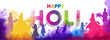 Creative text holi with people celebrating holi festival on watercolor splash background. Indian festival of colors celebration header or banner design.