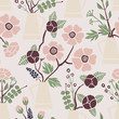 Cutout flowers and floral elements. Seamless pattern. Scandinavian geometric abstract modern plants and leaves. Hand drawn graphic design for paper, textile, fabric, print. - 242092863
