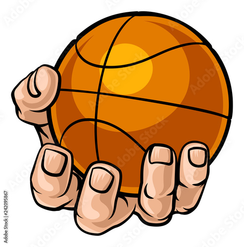 A strong hand holding a basketball ball. Sports graphic
