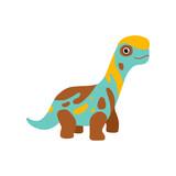 Fototapeta Dinusie - Cute colorful brontosaurus dinosaur, prehistoric dino cartoon character vector Illustration © topvectors