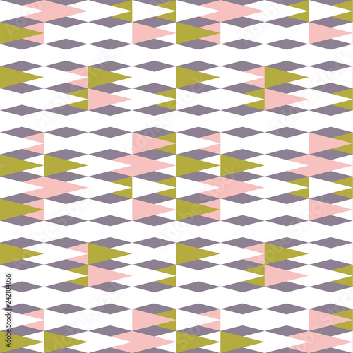 obraz lub plakat Triangles background. Vector geometric seamless pattern in pastel retro colors and simple shapes.