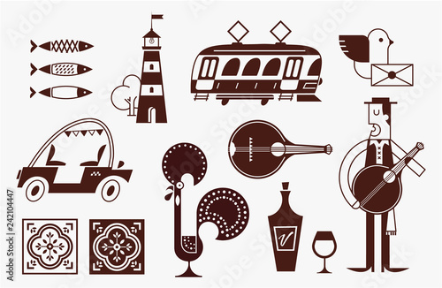 Portugal vector icon set simple modern symbols - 242104447