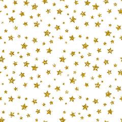 Golden Star Pattern. Glitter Look.