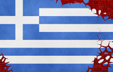 Graphic illustration of a Greek flag imitating a paiting on the cracked wall - 242108686