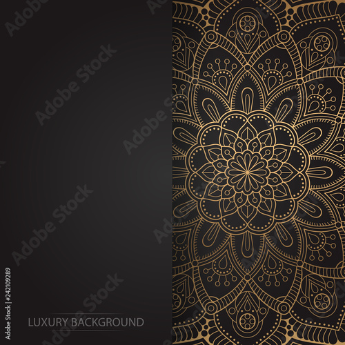 Gold vintage greeting card on a black background. Luxury vector ornament template. Mandala. Great for invitation,