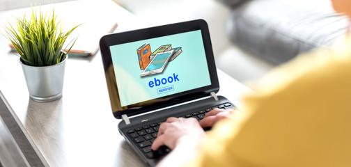 E-book concept on a laptop screen