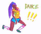 Beautiful female dancer with long ponytail striking a pose. Sketch illustration painted in highlighter felt tip pen on clean white background