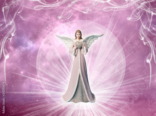 angel of love archangel with heart and rays of light over pink mystical background  - 242110676