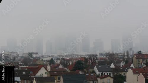 Paris la Defense in the fog