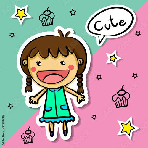 kids of simple illustrations - 242113489