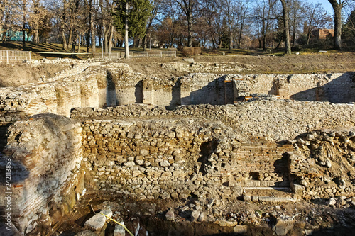 Sunset view of The ancient Thermal Baths of Diocletianopolis, town of Hisarya, Plovdiv Region, Bulgaria - 242113853