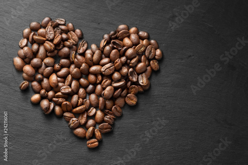 heart symbol made of coffee beans - 242116061