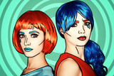 Portrait of young women in comic pop art make-up style. Females in red and blue wigs